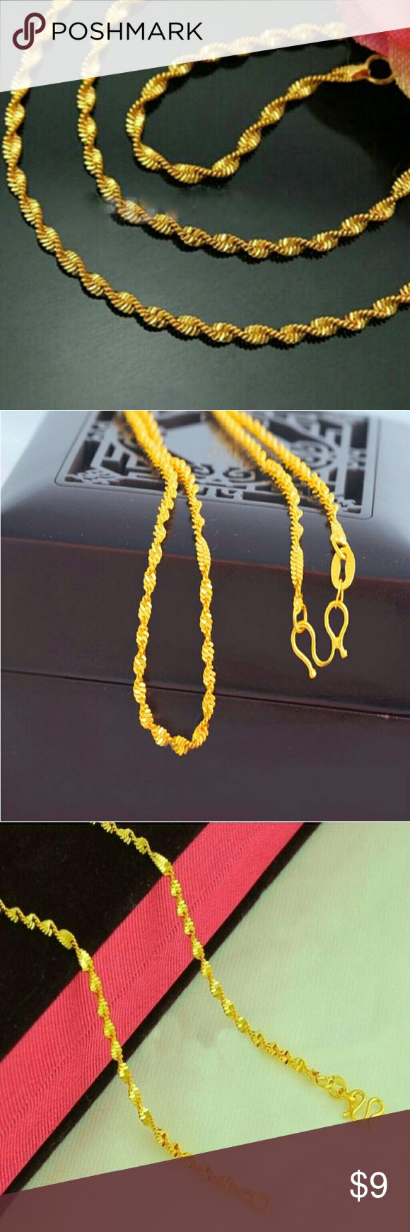 """16"""" Solid 24K Gold Water Wave Chain This 16"""" Wave Chain Necklace has a hook clasp and is super easy to both put on and take off at night. The solid 24K Gold design is the ultimate in luster and luxury. A must have for any collection! Jewelry Necklaces"""