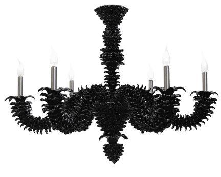 #lampadario #vetro #murano. Lampadario in vetro di murano nero. Sistema con 6 luci. H. 75 cm – ø. 95 cm. Disponibili su richiesta varianti di dimensioni e colori. > www.danielebiasin.it/portfolio-items/lampadario-in-vetro-di-murano-colore-nero/?portfolioID=10997