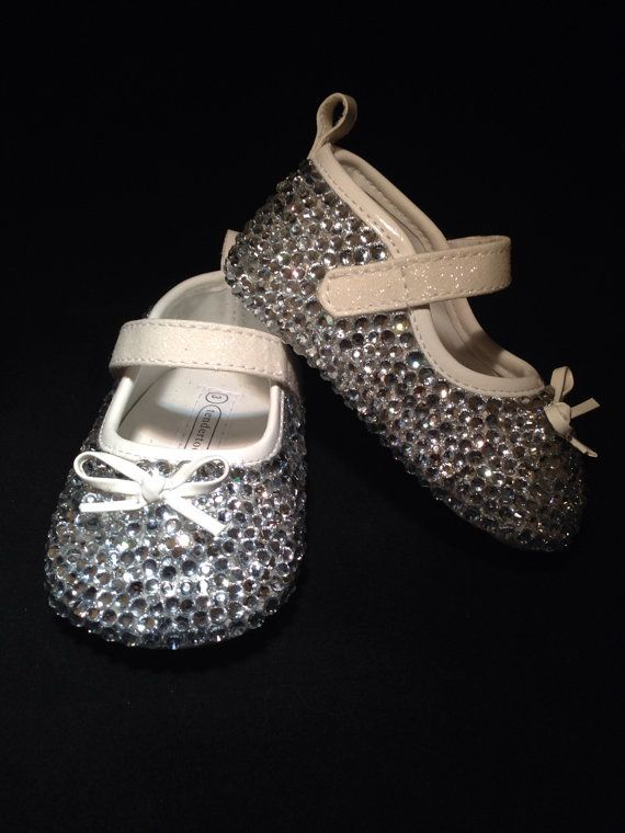 White baby shoes covered in clear crystals, blessing shoes, baptism shoes, white booties, toddler bling shoes, Cinderella shoes on Etsy, $55.00