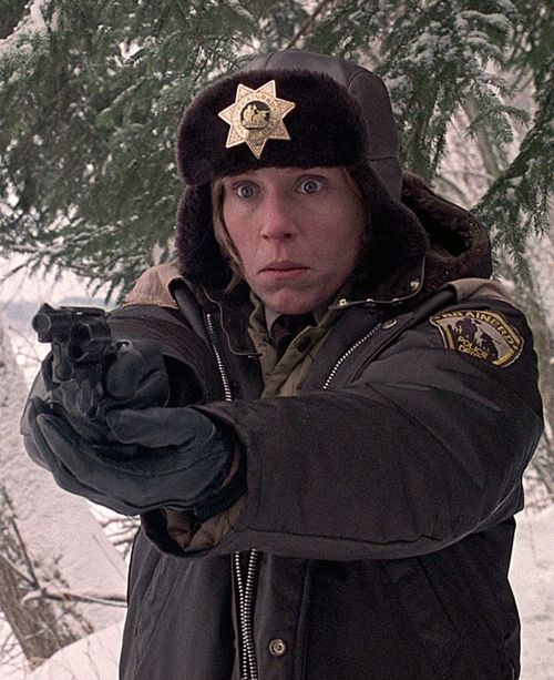 "Frances McDormand as Marge Gunderson in ""Fargo"" (1996). The shock after watching the wood chipper scene."