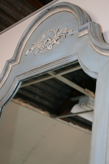 Mirror redone with Louis Blue and Old White with a Coco wash (all A.S. chalk paint).  This blog has tons of furniture re-do's with chalk paint