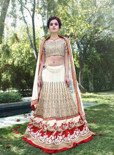 Off White latest Indian Punjabi lehenga choli in net J15195