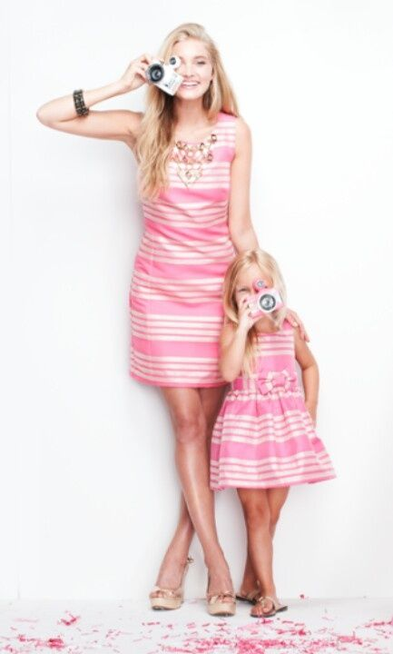 #mother #daughter #pink #stripes #matching #dresses #cute #camera #picture