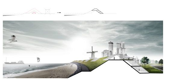 Dike reinformcement: the dikes around Vlissingen will need to reinforced, which will result in numerous complex challenges dealing with the nearby dwellings. We propose to intersect the two, by integrating the to be demolished dwellings into the new reinfoced dike.