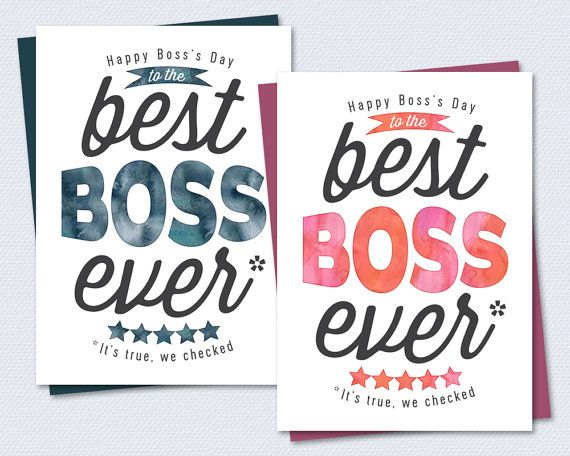 Printable Card - Best Boss Ever - Instant PDF Download - Boss's day, bosses day