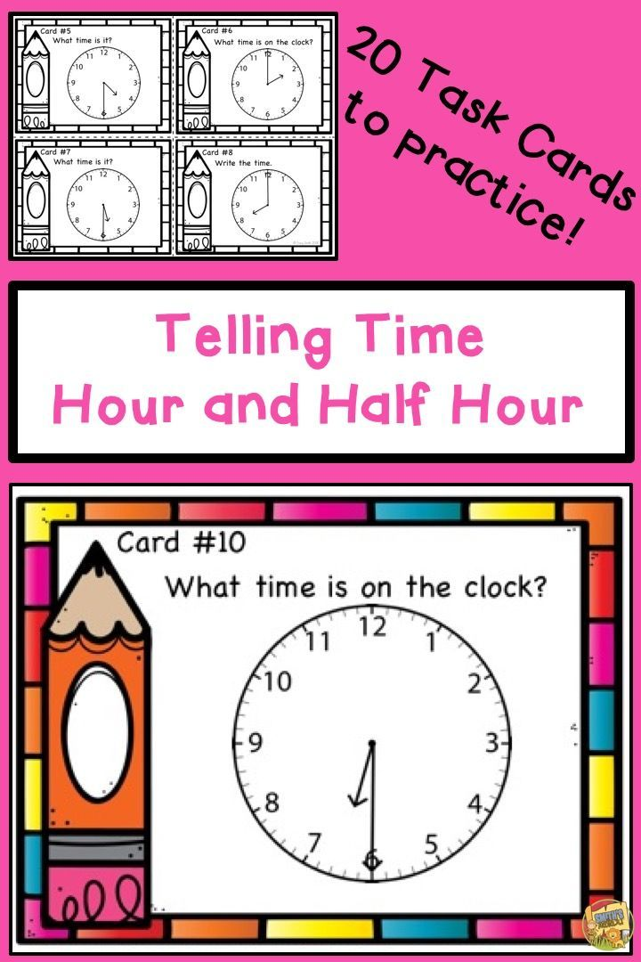 Telling Time - Hour and Half Hour Task Cards Grades 1-2 Center