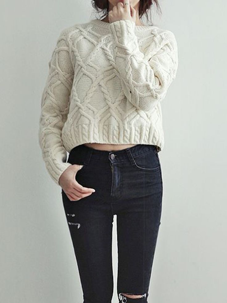 White Cable Knit Sweater | Choies