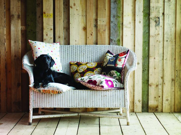 Otter, the gorgeous black Labrador, enjoying the Emma Bridgewater Sanderson cushions as much as us. #EmmaBridgewater #Sanderson #Fabric #Cushions #Labrador