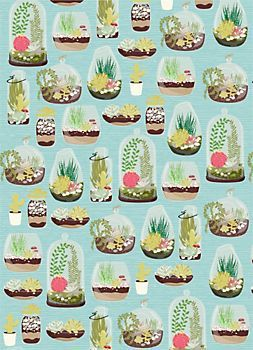 "Terrariums Wrapping Paper. Sheet Size - 19 1/2"" x 27"" Roll (2 sheets) - 27"" x 39""  Roll Wrap $7.95"