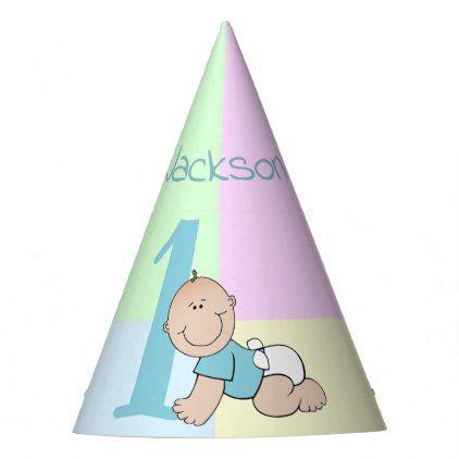 Cute Cartoon Baby Boy 1st Birthday Party Hat
