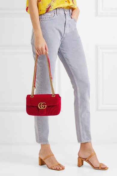 bff1543a4e8b Gucci - GG Marmont mini quilted velvet shoulder bag | Fashion | Bags ...