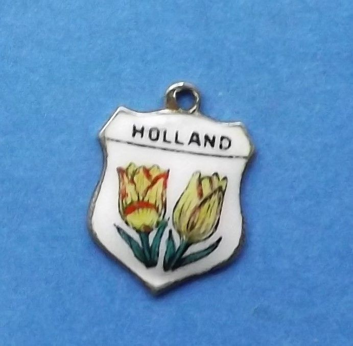 VINTAGE RARE HOLLAND TULIPS FLOWERS PICTURE ENAMEL TRAVEL SHIELD SILVER CHARM  #Traditional
