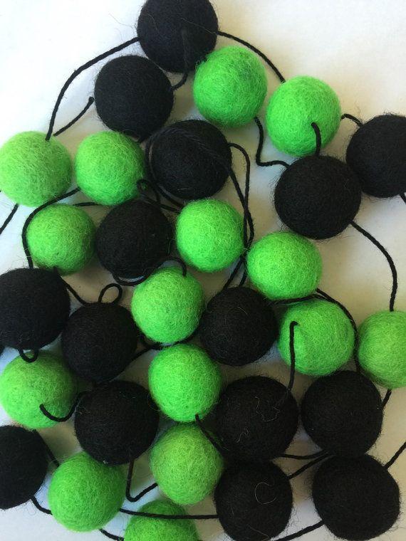Toxic Waste Fair Trade Wool Felt Ball Garland 2cm by CactusCo