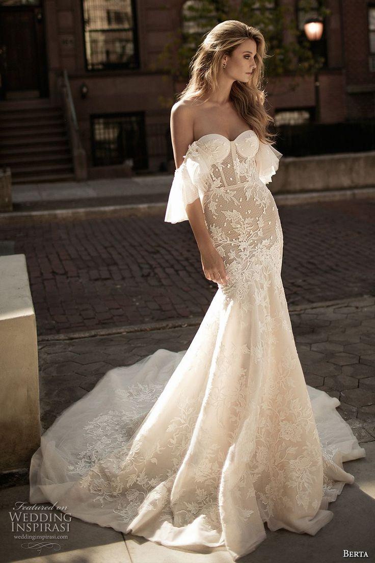 berta fall 2017 bridal strapless off the shoulder sweetheart necklne bustier bod…
