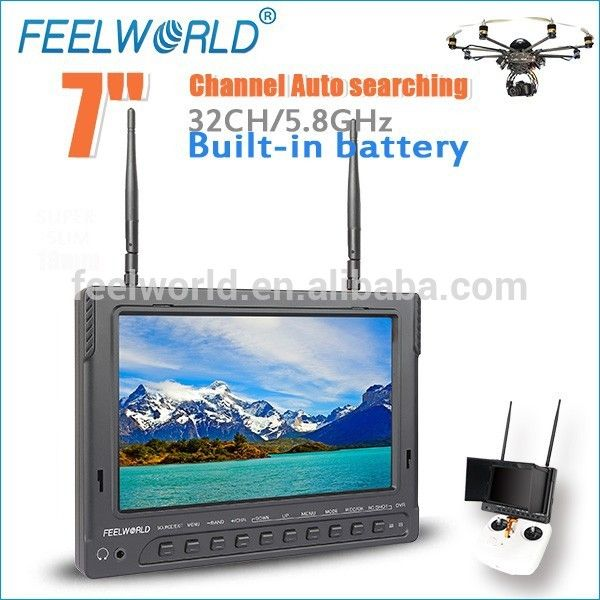 """High Resolution 7"""" FPV LCD Monitor 5.8G 32CH Diversity RX for parrot ar. drone 2.0"""