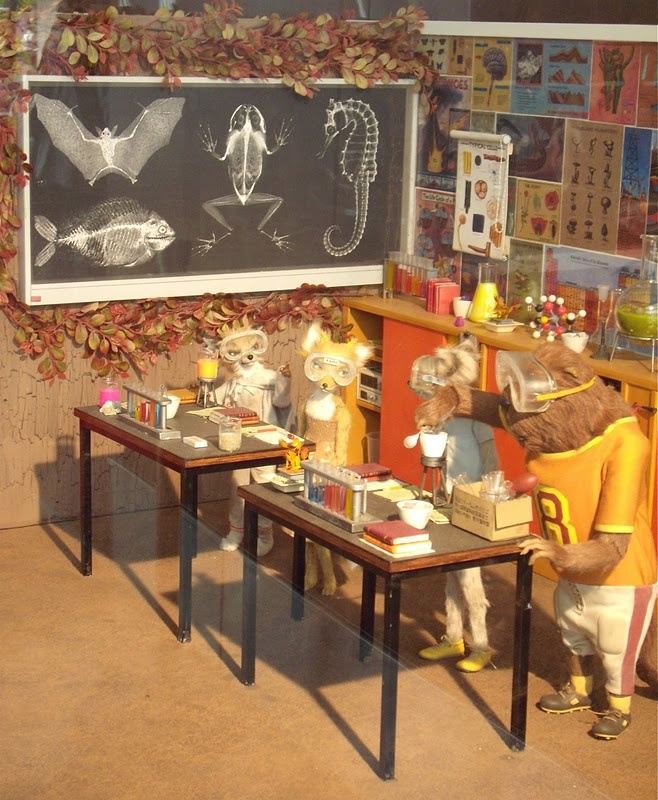Fantastic Mr. Fox Lab set with puppets.(i want that chalkboard!)