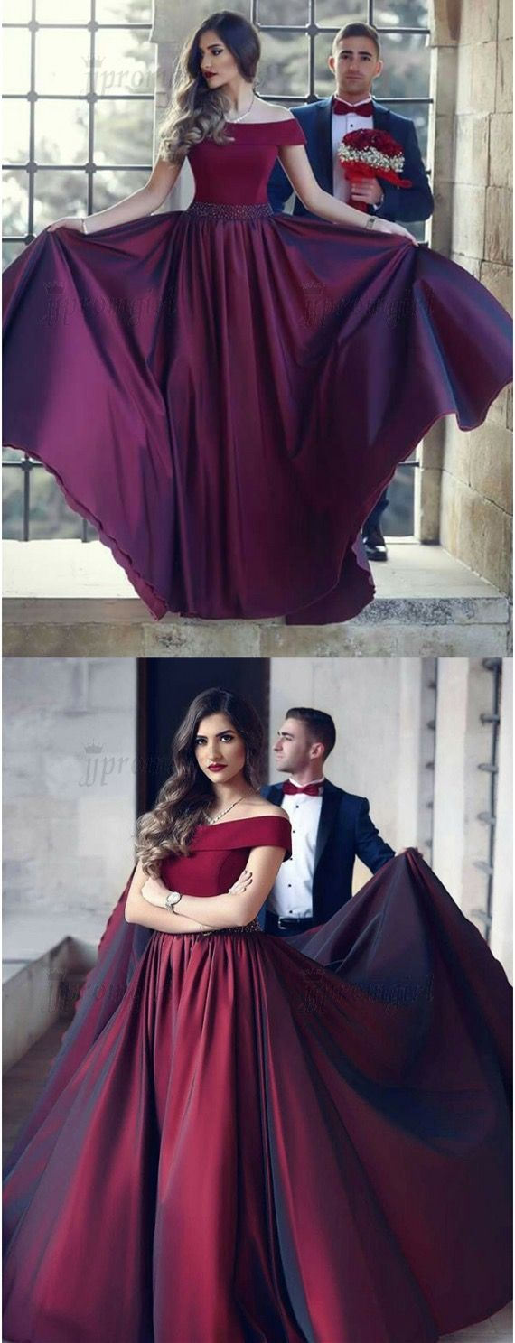 modest burgundy off the shoulder prom dresses,  elegant a line sweep train evening gowns, unique swing party dresses with beading pleats #burgundydress #promdress