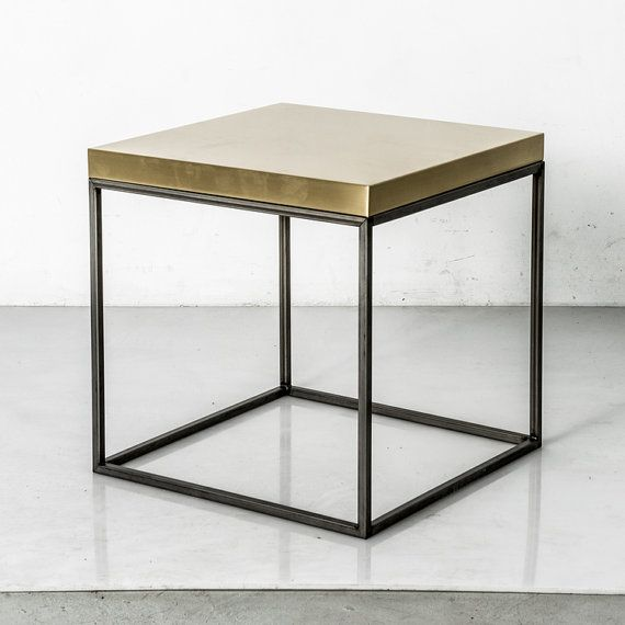 """18.5"""" Satin Brass Topped Stool or Table / Steel Frame / Modern Industrial Design / Handmade in Los Angeles / Modular Furniture [PCD403]"""