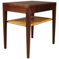 small bedside table in dark wood by severin hansen and haslev 1960s