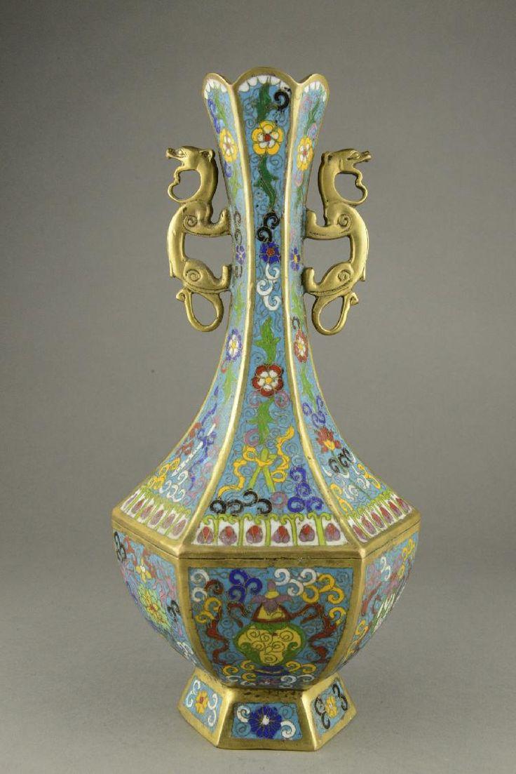437 best cloisonne vase images on pinterest bone china enamels lot 440 chinese cloisonne vase chilong handles qianlong mkhttpinvaluable reviewsmspy