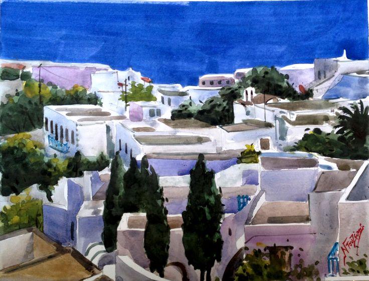 30X40 GREEK ISLAND watercolor by Babis Douzepis