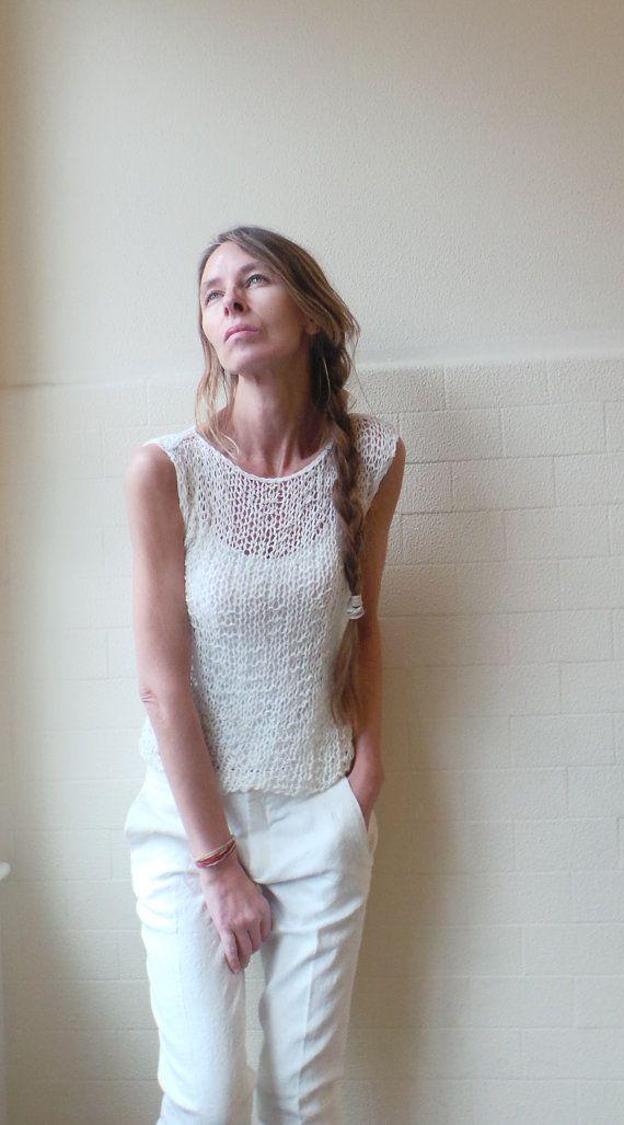 White vest / cotton mix summer tank / vest por ileaiye en Etsy, $79.00