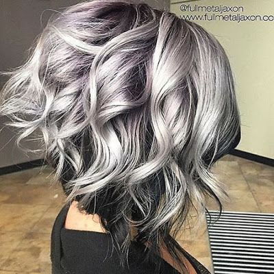 short hray hair with lavender highlights