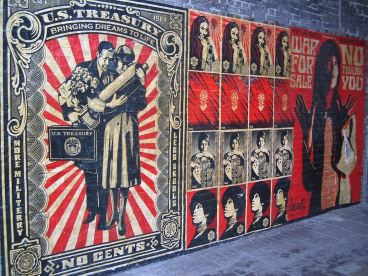 Obey Wall Art & OBEY 3-FACE (Cream) Signed Poster Set Sc 1 St Obey Giant