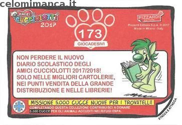 Amici Cucciolotti 2017: Retro Figurina n. 173 Lupo grigio