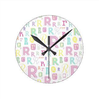 Monogram alphabet letter R Wall Clocks