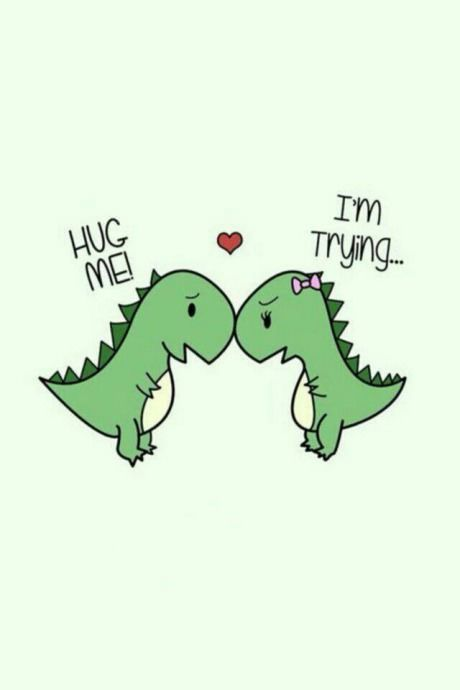 Two dinos trying to love each other