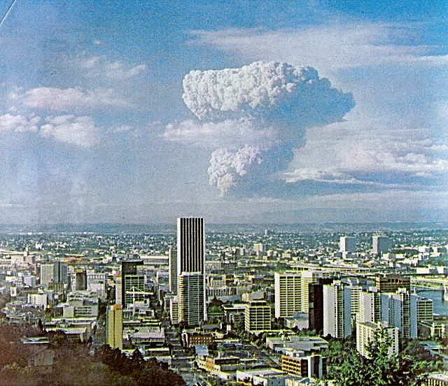 Mt. St. Helens erupts, Portland, May 18, 1980   Goose Hollow in foreground by Stumptown Confidential, via Flickr