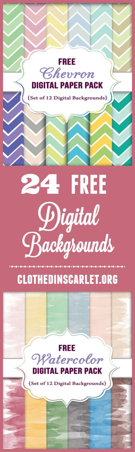 Download 24 FREE Digital Backgrounds (Chevron & Watercolor). No strings attached!