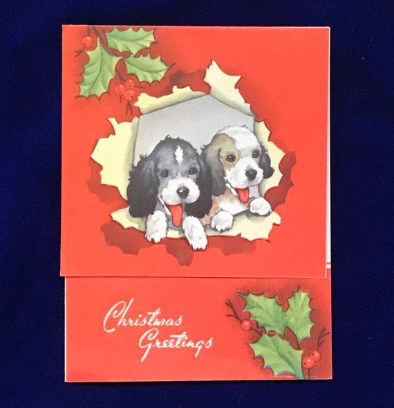 1930 S Cocker Spaniel Christmas Card Adorable For Sale At Yellow Dog Antiques On Etsy Dog Christmas Card Retro Christmas Decorations Vintage Christmas Cards