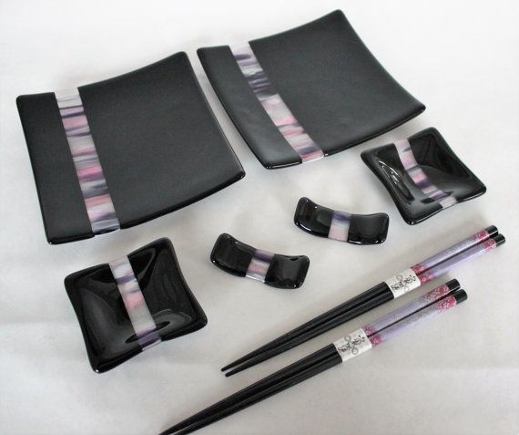 GLASS SUSHI SET for 2- Cherry Blossom Fused Glass Sushi Set with Chopsticks, Tableware, Under 75, Japanese Sushi Dishes, Wedding Gift, Glass