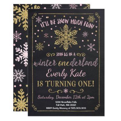 Winter ONEderland Birthday Invitation Pink Gold - invitations custom unique diy personalize occasions