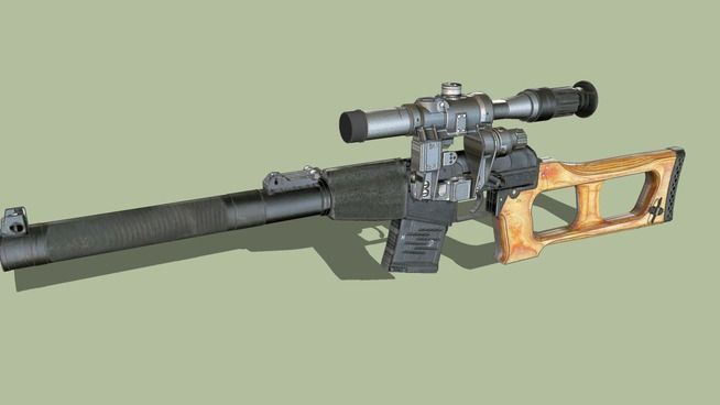 Large preview of 3D Model of Vss Vintorez with PSO 1-1 scope