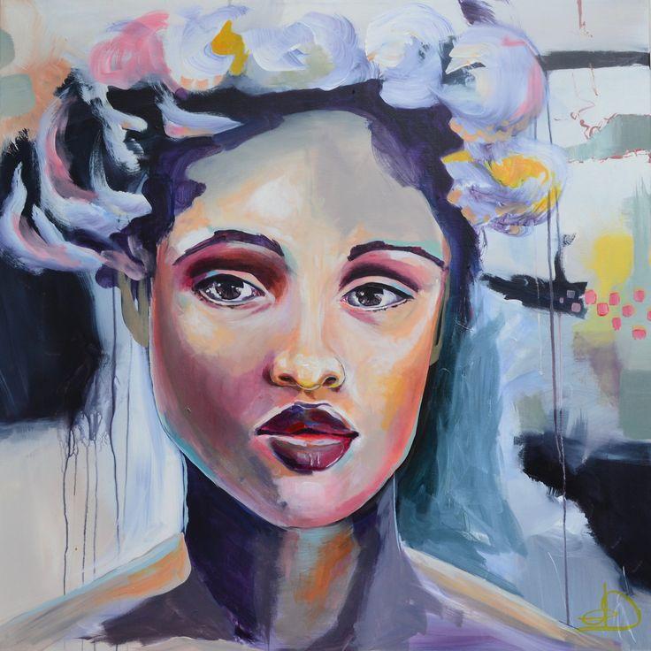 Amelia 80X80 cm. Acrylic on canvas. made by Naja Duarte.