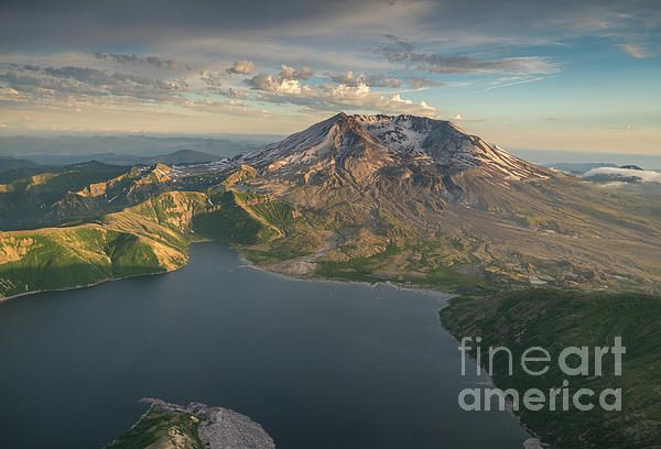 Aerial Photography view of Mount St Helens and Spirit Lake in WA www.mikereidphotography.com