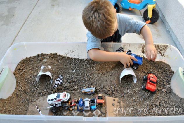 Monster Truck Sensory Bin by Crayon Box Chronicles How awesome for a kids' playdate and just any day for a little boy who's car & truck crazy!