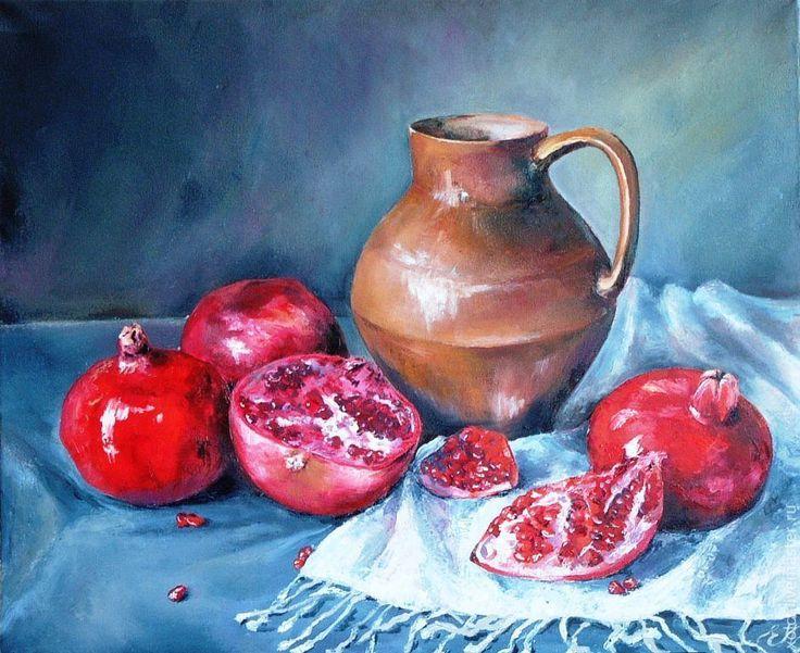 """Купить Большая картина """"Гранатовый натюрморт"""" - картина, картина в подарок, картина для интерьера, картина маслом"""