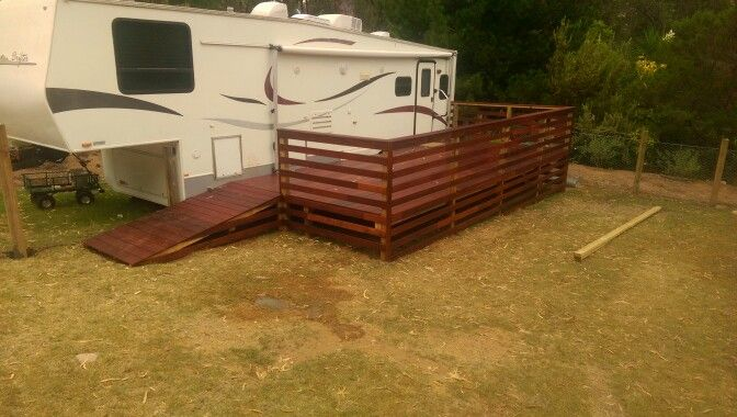 Merbau deck, ramp and fencing to access RV by Deckhead, WA