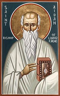 Aug 31....St. Aidan---seventh century Irish monk. Laid the groundworks for missionaries after him in at the time an uncivilized northern England with his humility and spirit of prayer.  We can learn from St. Aidan's life that the witness of a joyful, kind person truly touches others. When we need help seeing the good in people, we can pray to St. Aidan.