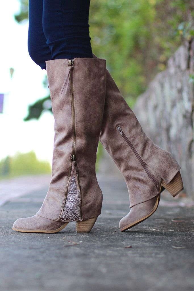 Not Rated: Lace Insert Boots {Taupe} - The Fair Lady Boutique - 1