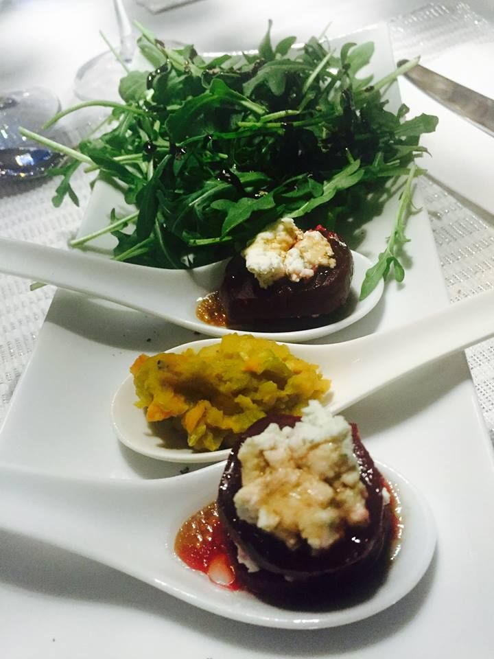 Entrée: goat cheese and beet, lens purée and arugula salade