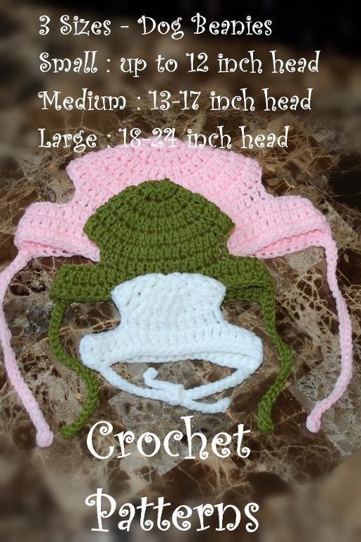 Crochet Dog Beanie - 3 sizes (S,M, L)