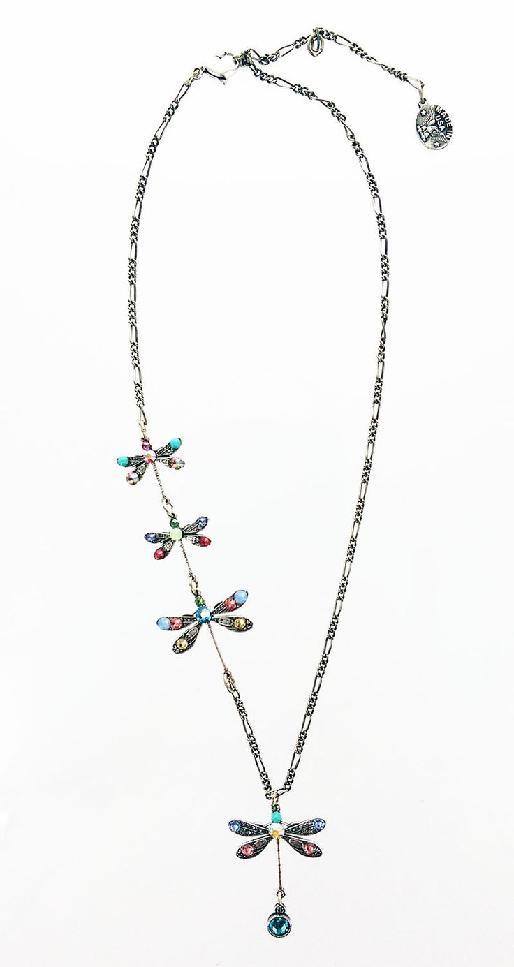 Four Dragonflies Necklace In Pastels