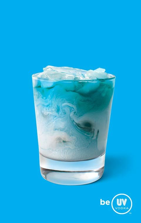Blue Frost ~ 1 Part UV Blue Vodka, 1 Part Raspberry Sherbet, and 1 Part Lemon-Lime Soda. Serve over ice in a lowball glass.