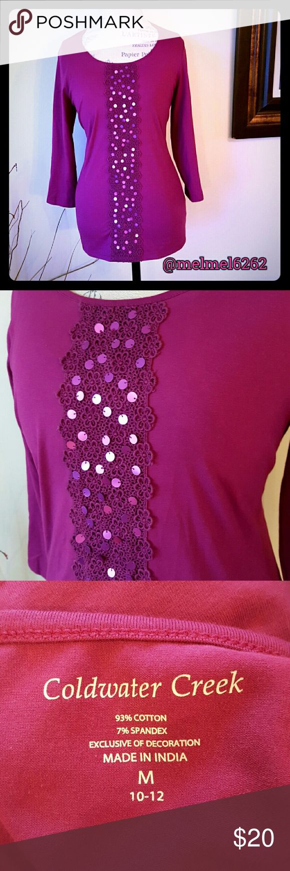 Coldwater Creek Top Every girl needs a little sparkle! Cute top from Coldwater Creek.  Excellent used condition from clean smoke free home. Coldwater Creek Tops