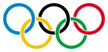 Five interlocking rings, coloured blue, yellow, black, green, and red on a white field. Originally designed in 1912 by Baron Pierre de Coubertin, the founder of the modern Olympic Games.   The emblem chosen to illustrate and represent the world Congress of 1914...: five intertwined rings in different colours - blue, yellow, black, green, and red - are placed on the white field of the paper. These five rings represent the five parts of the world which now are won over to Olympism...